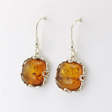 Silver Baltic Amber Square Filigree Dangle Earrings