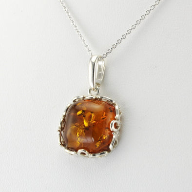 Silver Baltic Amber Tree Square Filigree Necklace