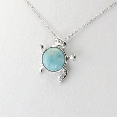 Silver Larimar CZ Turtle Necklace
