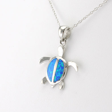 Silver Created Opal Sea Turtle Necklace