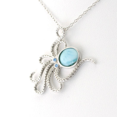 Silver Larimar CZ Octopus Necklace