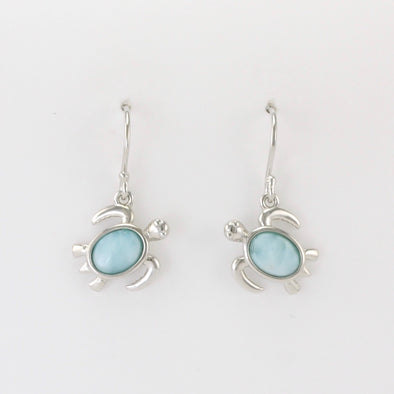 Silver Larimar Sea Turtle Dangle Earrings