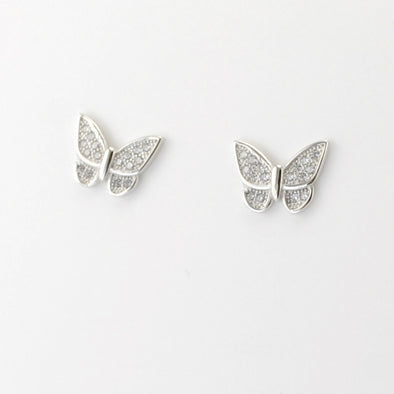 Silver CZ Butterfly Post Earrings