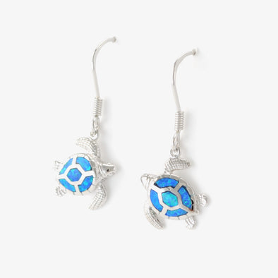 Sterling Silver Created Opal Sea Turtle Dangle Earrings