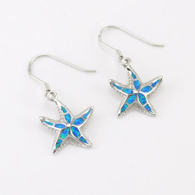 Silver Created Opal Starfish Dangle Earrings