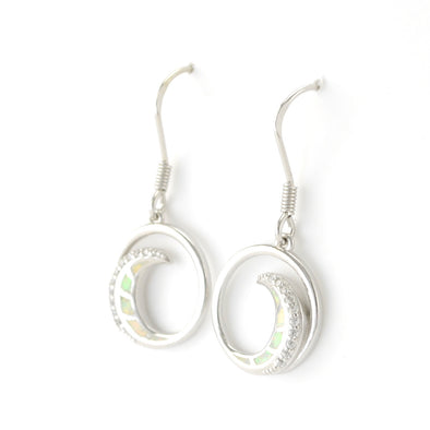 Silver Created White Opal CZ Wave Earrings