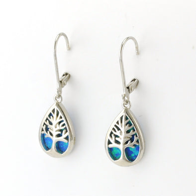 Silver Created Opal Tree Dangle Earrings
