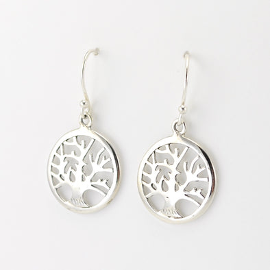 Silver Tree of Life Round Dangle Earrings