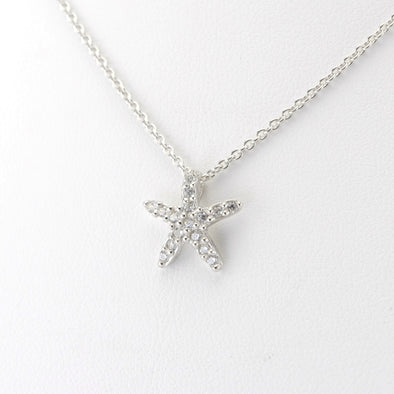 Silver Cubic Zirconia Starfish Necklace