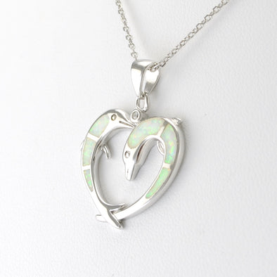 Silver Created Opal Dolphin Heart Necklace