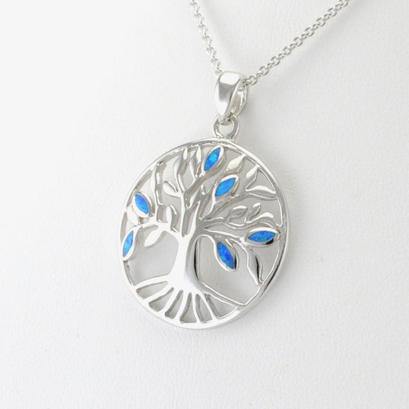 Silver Created Opal Tree of Life Necklace