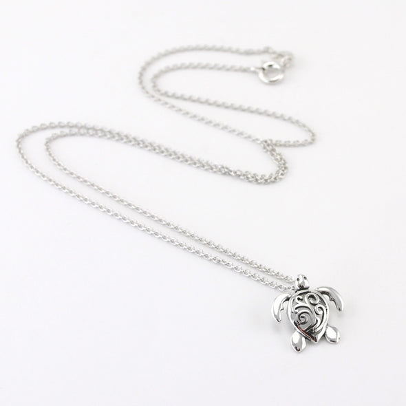 Silver Sea Turtle with Scrolls Necklace