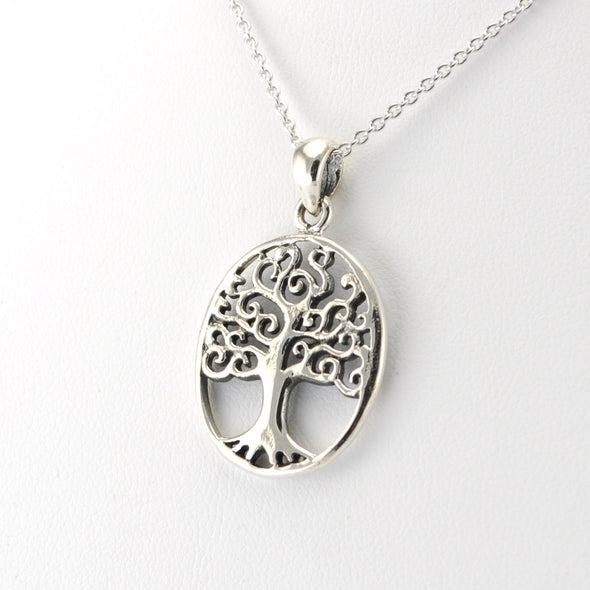Silver Tree of Life Oval Necklace