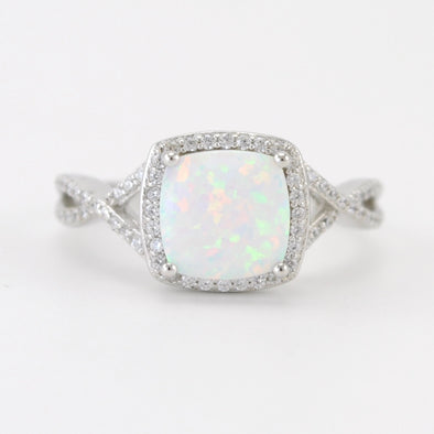 Silver Created Opal Square CZ Ring