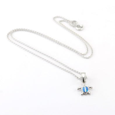 Silver Created Blue Opal Mini Turtle Necklace