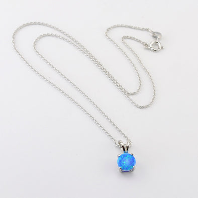 Silver Created Blue Opal Round Necklace