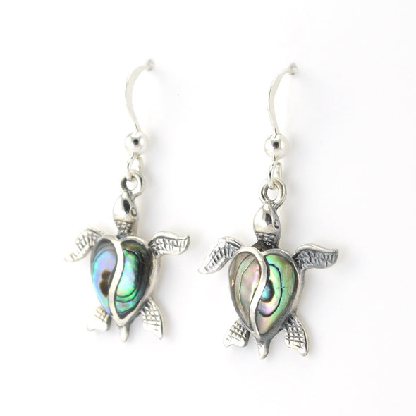 Silver Abalone Sea Turtle Dangle Earrings
