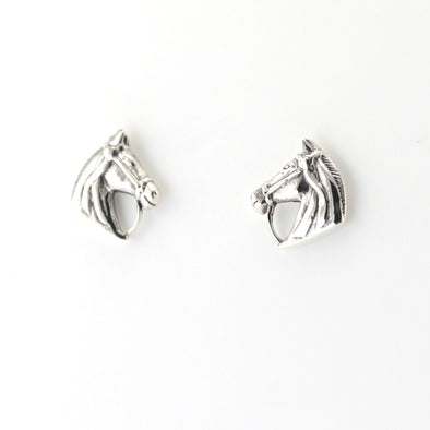 Silver Horse with Bridle Post Earrings