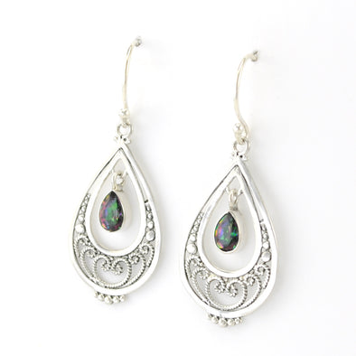 Silver Filigree Tear with Tear Mystic Quartz Earrings
