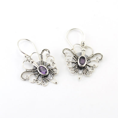 Sterling Silver Amethyst Butterfly Dangle Earrings
