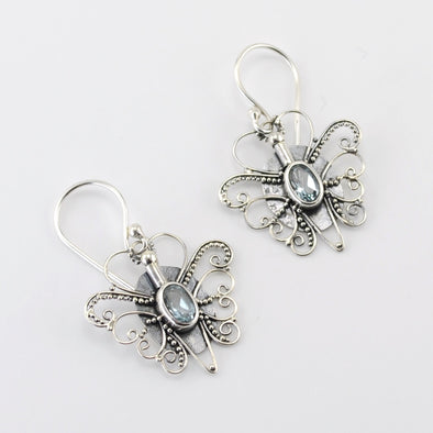 Silver Blue Topaz Butterfly Dangle Earrings