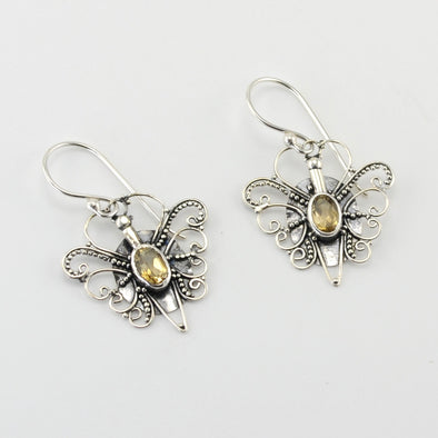 Silver Citrine Butterfly Dangle Earrings