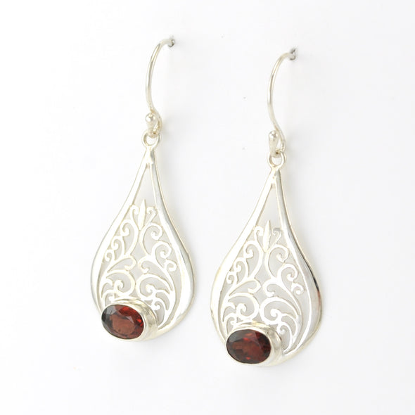 Silver Garnet Oval in Scroll Tear Earrings