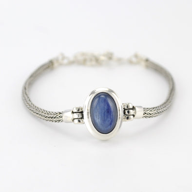 Silver Kyanite Oval Toggle Bracelet