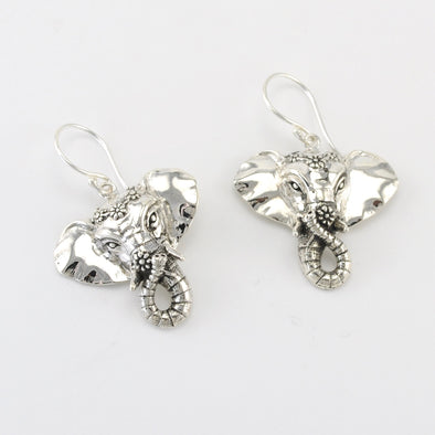 Silver Elephant Flower Earrings