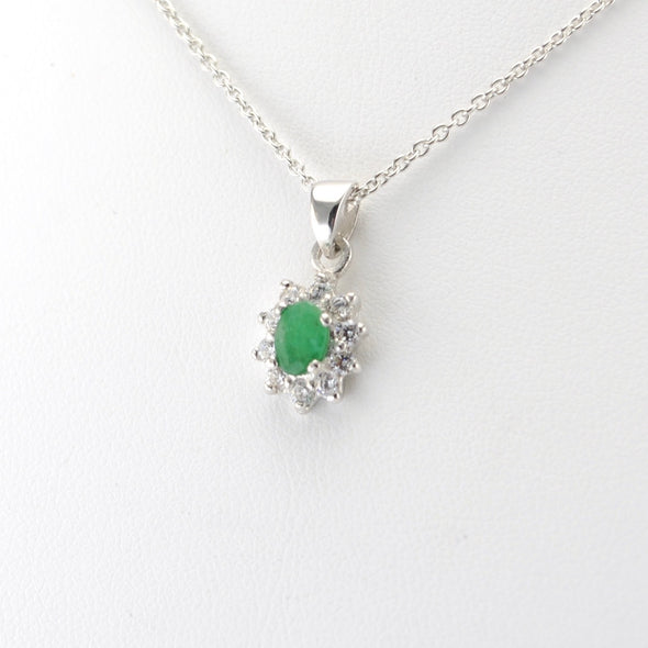 Silver Emerald Cubic Zirconia Necklace