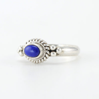 Silver Lapis 4x6mm Oval Ring