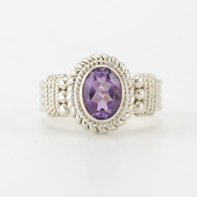 Silver Amethyst 6x8mm Oval Ring