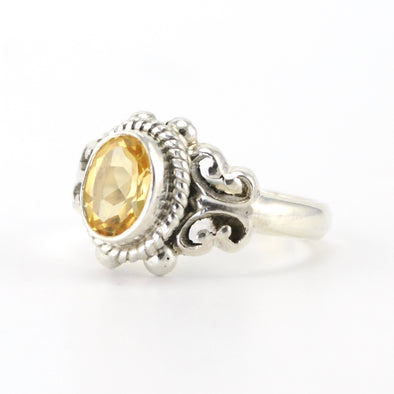 Silver Citrine 6x8mm Oval Ring
