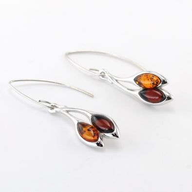 Silver Honey and Cherry Amber Marquise Dangle Earring