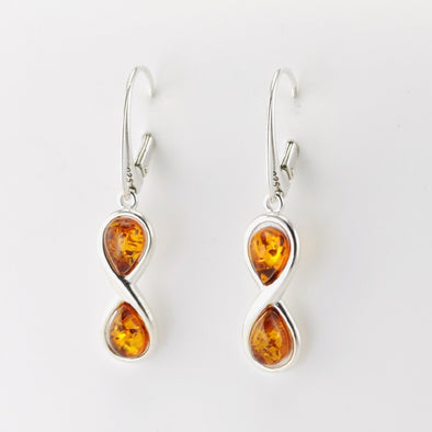 Silver Amber Infinity Dangle Earrings