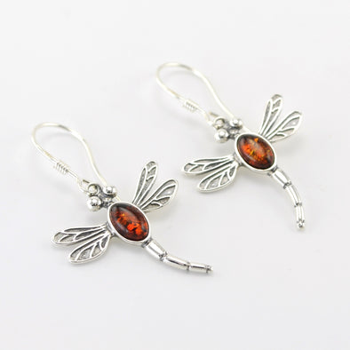 Silver Amber Dragonfly Dangle Earrings