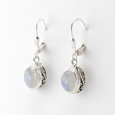 Silver Moonstone 6x8mm Oval Bali Dangle Earrings