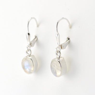 Silver Moonstone 6x8mm Oval Dangle Earrings