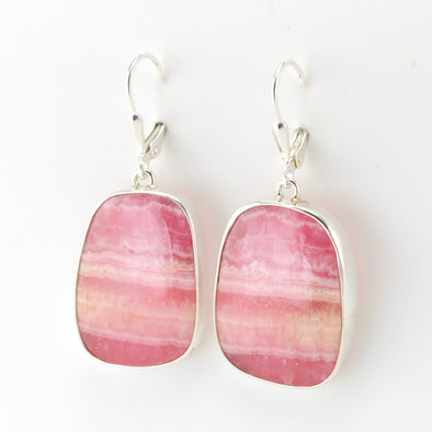 Silver Rhodochrosite Square Earrings