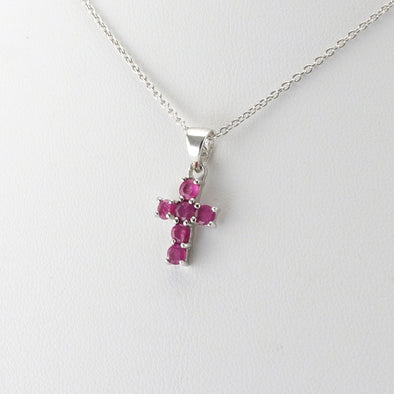 Silver Ruby Cross Necklace