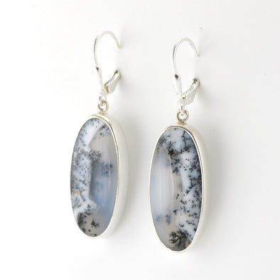 Silver Dendritic Agate Long Oval Dangle Earrings