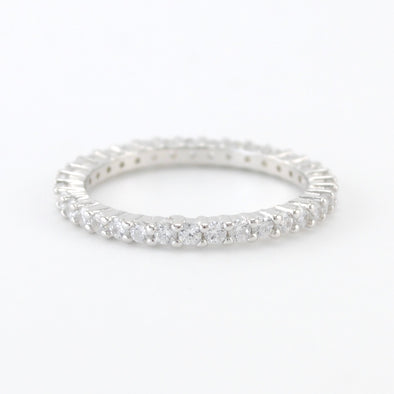 Sterling Silver Prong Set CZ Eternity Band Size 8