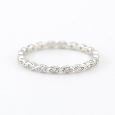 Silver Marquise CZ Eternity Band