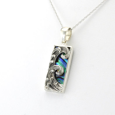 Side View Silver Abalone Rect Small Wave Necklace