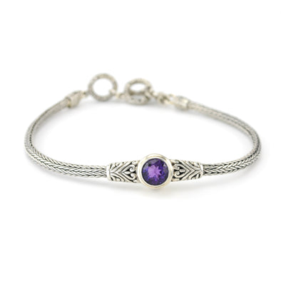 Sterling Silver Amethyst Round Bali Toggle Bracelet
