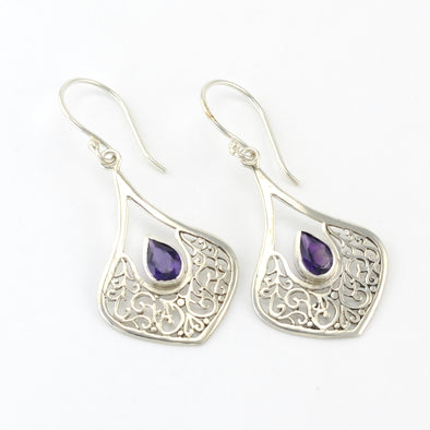 Silver Wide Marquise Filigree Tear Amethyst Earrings