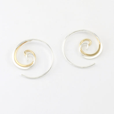 Silver Gold Fill Double Spiral Threader Earrings
