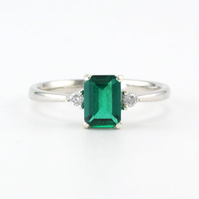 Silver Created Emerald .8ct Diamond .04 Ring Size 7