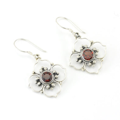 Sterling Silver Garnet Flower Earrings