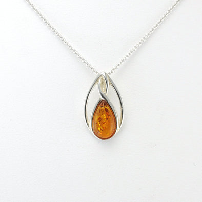 Silver Amber Celtic Necklace